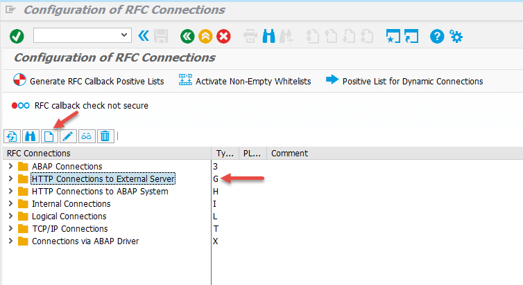 Configuration of RFC Connections